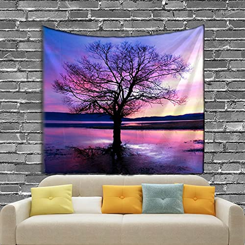 KHKJ Paisaje árbol Tema Tapiz Sala de Estar decoración del Dormitorio Playa de Arena Toalla de Picnic A1 95x73cm