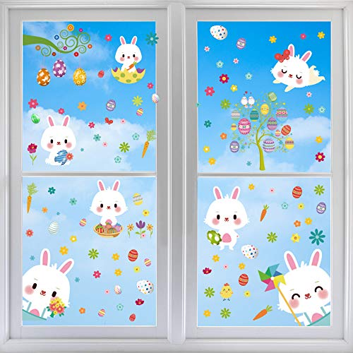 Fenstersticker Ostern, Fensterdekoration Ostern, Fensterbilder Häscheneier Frühlings Ostern, Wiederverwendbare Fensteraufkleber, Osterfenster Klammert Sich an Aufkleber Hase Ostereier(9 Aufkleber)