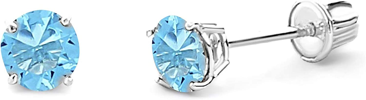 Wellingsale 14K White Gold Polished 4mm San Francisco Mall Zir Fort Worth Mall Round CZ Birth Cubic