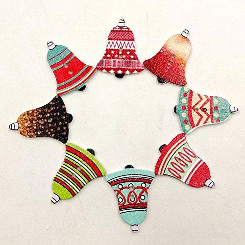 Bodhi2000 Botones, 50 unidades Jingle Bell forma 2 agujeros botones de madera para coser Scrapbooking Crafting Ornament arte DIY decoración