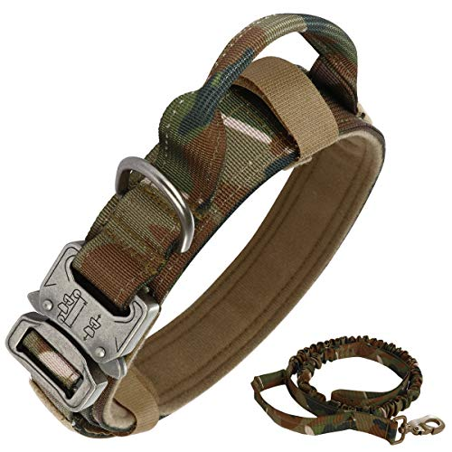 Tactical Dog Collar Nylon Adjustable K9 Collar Military Dog Collar Heavy Duty Metal Buckle with Handle,Tactical Bungee Dog Leash Nylon Military Dog Leash,Dog Lead and Collar Set (Camouflage, L)