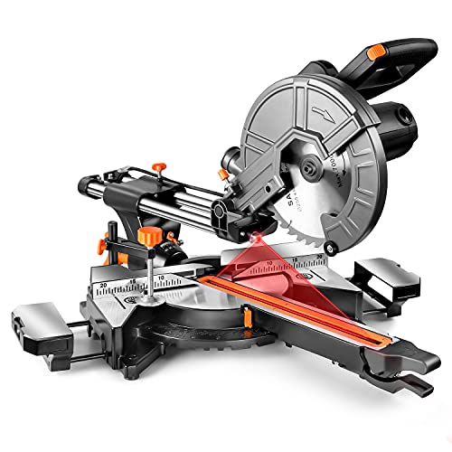 Sliding Compound Miter Saw, 10-Inch, 15 Amp, 2 Variable Speeds (4500 & 3200 RPM) with Bevel Cut (0-45°), 3 Blades (2 40T 1 48T), Laser Guide, Iron Blade Guard, Extension Table Included-EMS01A