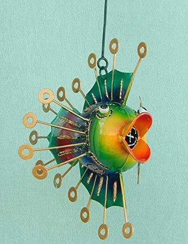 Trendshop-online Fisch Kugelfisch aus Metall zum hängen Metallfisch Dekofigur Garten 24 cm Hängefigur Skulptur Maritim