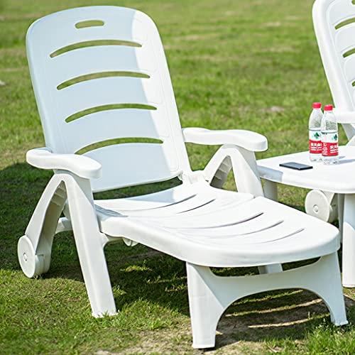 YERT Sedia Relax Portatile in plastica a Bordo Piscina, sedie a Sdraio in plastica Resistenti agli Agenti atmosferici per Esterni per mobili da Giardino, Cortile e Prato della Piscina Patio (Bianco)
