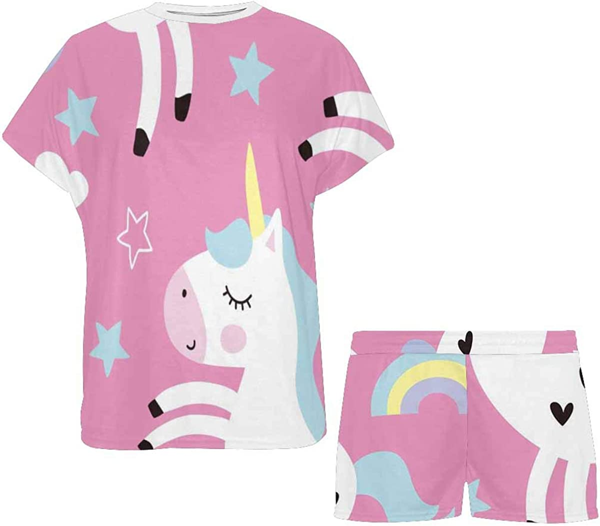 INTERESTPRINT Cute Unicorn Pattern Women's Pajamas Short Sets Round Neck Short Sleeve Sleepwear