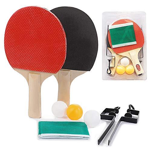 Lixada Kit de Raqueta de Tenis de Mesa Portátil Telescópico + Estante de Red Retráctil Ajustable + 3 Tenis de Mesa