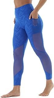 Guely Ray Women High Waist Tummy Control Yoga Pants Mesh Side Pockets Leggings