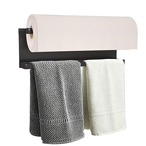 Magnetic Paper Towel Holder for Refrigerator, Towel Rack Magnetic Shelf Multi Function Made of Iron,Used for Kitchen,Bathroom,Toilet, Drill Free (Black, Medium)
