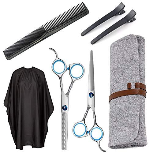 Edelstahl Haarschere Modellierscheren mit Friseurumhang Kamm Haarspange Friseurschere Effilierschere Ausdünnschere für Damen Herren Kinder
