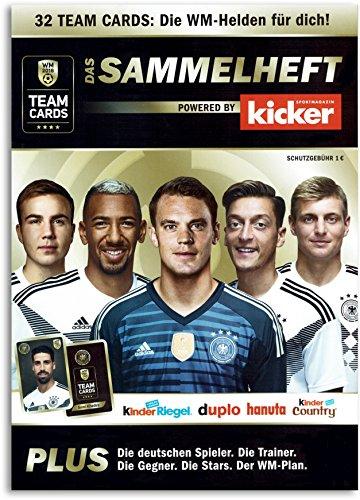 Kicker Sammelheft DFB Team Cards WM 2018 Sammelkarten Ferrero Sammelalbum für 32 Teamcards