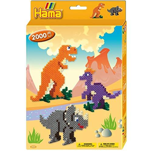Hama 3434 - Perlenset Dino Welt, ca. 2000 Bügelperlen, 1 Stiftplatte und Zubehör