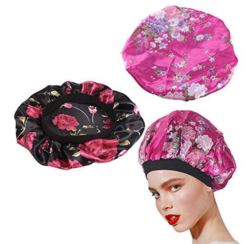 Nahuaa 2 Pièces Bonnet de Nuit en Satin Femme Bonnet de Douche Bain Réutilisable Élastique Bande Imperméable Chapeau de Sommeil pour Protéger Femmes Filles Cheveux Bouclés Spa Noir et Rose Rouge