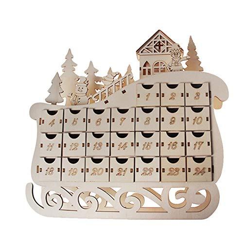 Fauge Calendario de Adviento de madera con diseño de trineo con 24 cajones y luz LED