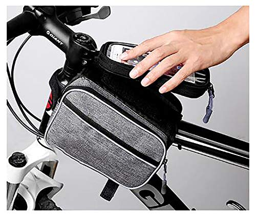 LJWLZFVT Bike Frame Bag Gifts for Him Bicycle bag Waterproof Phone Holder Bike Bags for Frame Top Tube Bicycle Pouch Bag with Touchscreen rain cover suitable Bike upper tube bag-Khaki 20x13.5x13cm