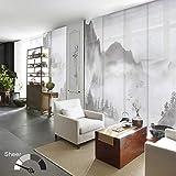 GoDear Design Deluxe Sheer Adjustable Sliding Panel Track Blind 45.8'- 86' W x 96' H, Shimmering Natural Woven Fabric, Landscape Ink Wash Painting, Digital Art Prints, Shangri-La