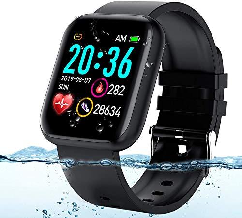 Langguth Reloj inteligente de pulsera de fitness, pantalla táctil de 1,3 pulgadas, rastreador de fitness con pulsómetro, ECG, resistente al agua IP67