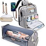 Gimars 3 in 1 Diaper Bag Backpack with Changing Station Bed, Travel Protable Bag with Insulated Milk Bottle Pocket,Foldable Bassinet Diaper Baby Backbag, Waterproof and Stylish, Grey