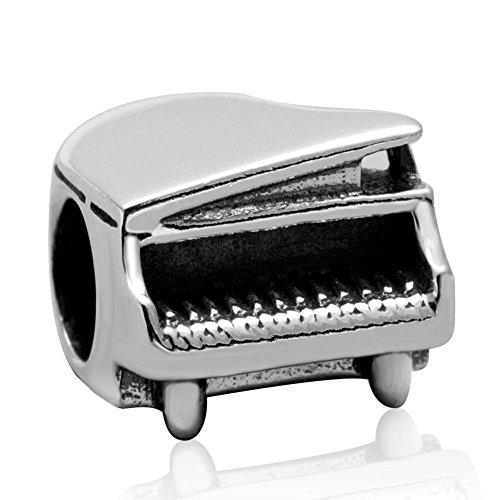 Klavier-Charm, 925er-Sterlingsilber, I Love Music Charm, Art Charm, Geburtstags-Charm für Pandora-Charm-Armband (A)
