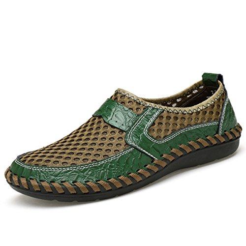 gracosy Mokassins für Herren, Frühling Sommerschuhe Damen Mokassins Slipper Slip-on Schuhe Atmungsaktiv Mesh Bootsschuhe Flach Loafers rutschfest Business Schuhe Schwarz Braun Blue, MEHRWEG