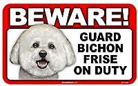 BEWARE!BICHON FRISE ラミネートサイン:ビションフリーゼ 注意 警戒中 Made in U.S.A [並行輸入品]