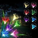 Luces Solares flores, LED Luz Solar 3 lirio Flores 7 Variaciones de Color Impermeable, Ideal Decorativa para Terraza, Macetera, jardín, Fiesta. 1 Paquete