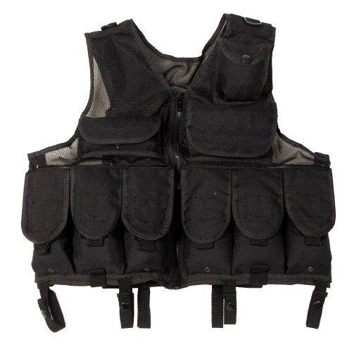 MFH Gilet de Combat Tactical Maille pour Homme - größenverstellbar, 100% Nylon, Noir - Noir