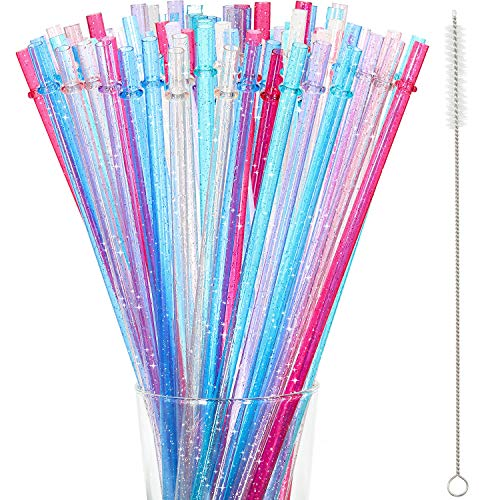 48 Pezzi 11 Pollici Cannucce in Plastica Dura Riutilizzabili Senza BPA, Cannucce Glitter Trasparenti/Colorate Cannucce con Spazzola per Pulizia (Multicolore)