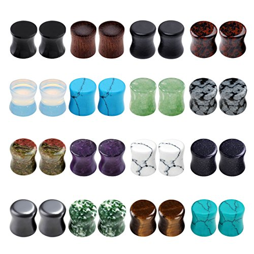 PiercingJ Acrylic Wood Mixed Stone Plugs 16 Pairs/32 Pieces Set Ear Plugs Ear Tunnels Ear Gauges Double Flared Ear Expander Stretcher Set Florida