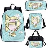 Juego de mochila para adolescentes de 17 pulgadas, jirafa en un Blimp Cartoon School Bags Set para trabajo, escuela, viajes, picnic