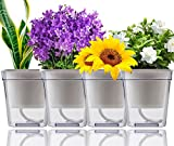 Oruuum 4 Pack Self Watering Pot with Cotton Rope, Clear Plastic Automatic-Watering Flower Pot Water Plant Pot Indoor Self Watering Pot (Square 3.74' x 3.9')