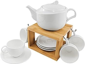 77L Modern Ceramic Tea Pot, 4-Piece Tea Cups & Saucers