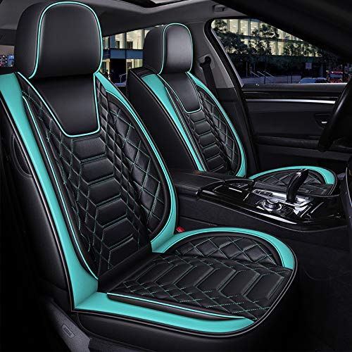 FREESOO Car Seat Covers Leather, Full Set Coverage Seats Cover Cushion Protector Auto Interior Accessories Airbag Compatible Universal Fit for Cars 5 Seats Vehicle (Black Green 8)