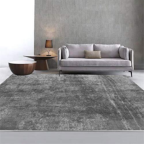 RUGMRZ Kayoom Teppich grau Salon Teppich grau dünne Linie einfaches Muster Rutschfester Teppich antiallergisch Teppich Waschbar In Waschmaschine 200X250CM Kinder Teppich Mädchen 6ft 6.7''X8ft 2.4''