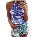 Padaleks Women's Casual Halter Top Spaghetti Strap Camo Print Tank Tops Summer Sleeveless Camis Shirt Blouses