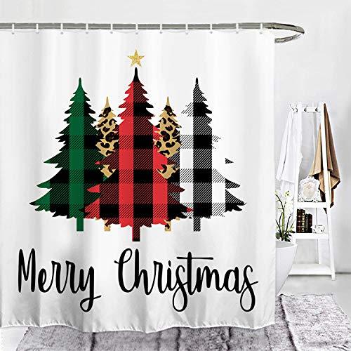 "ORTIGIA Christmas Tree Shower Curtain Buffalo Check Plaid Forest Bathroom Decor Farmhouse Bath Curtains Waterproof Polyester Fabric 72"" Wx72 L with Hooks"