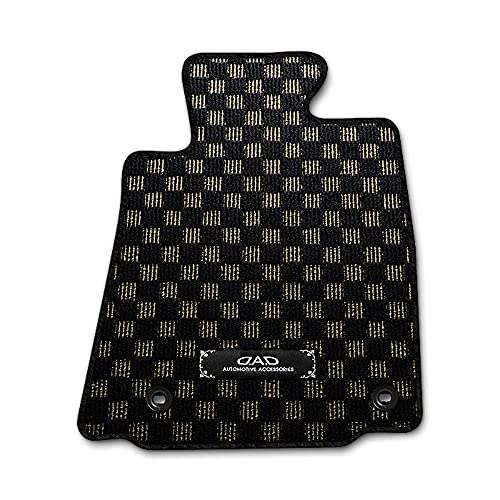 DAD ギャルソン SUZUKI (スズキ) SX4 型式: YA11S/YB11S/YA41S/YB41S D.A.D フロアマット チェックモデル 1台分 [車種品番:SZ0008] ブラック×ゴールド/オーバーロック(ふちどり)カラー:ブラック/刺繍
