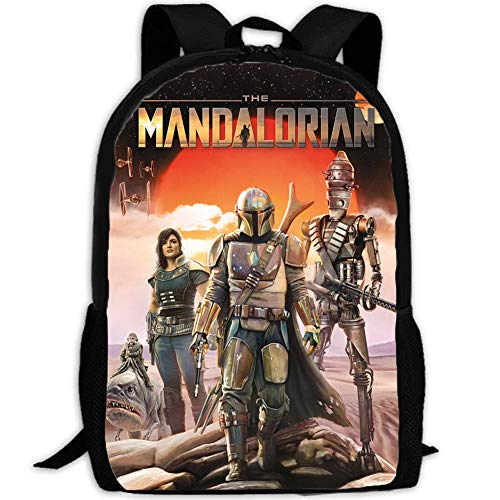 Mandalorian Backpack Bounty Hunter Backpack Schoolbag Bulit Up Cosplay Bag for Boys Girls (Style B)