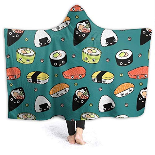 FETEAM Manta De La Siesta Felpa Sofás Franela Hooded Japan Sushi Kawaii W102cm X L127cm Buen sueño Hoodie