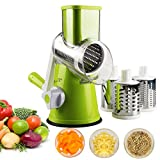 Vegetable Mandoline Slicer, Zacfton Vegetable Fruit Cutter Cheese Shredder Rotary Drum Grater with 3 Stainless Steel Rotary Blades and Suction Cup Feet (Green)