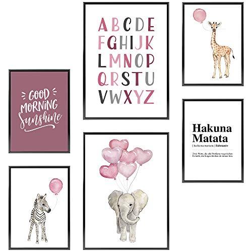 Frechdax® Kinderzimmer Poster Set | Poster Collage Kinder Wandbilder | 2 x DIN A3 & 4 x DIN A4 - ca. 30x42 & 21x30 | ohne Bilderrahmen (» Elefant, Giraffe, Rosa, Luftballons «)