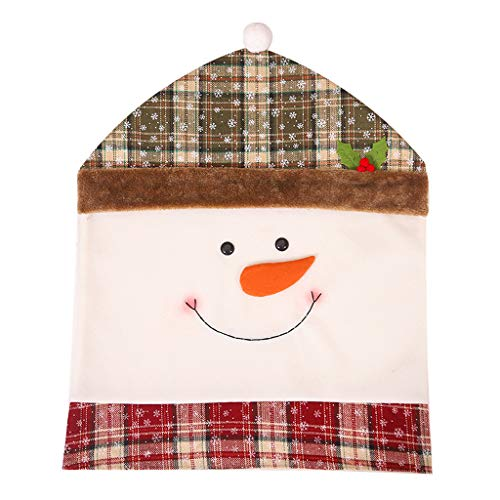 jiumoji 1pc Cute Soft Chair Covers Christmas Decoration Dining Seat Santa Claus Home Party Decor (-C, 60x50cm)