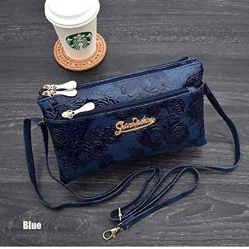 women's wallet Four zipper long clutch bag 3D knurling Retro lEather Purse wristlet phone wallet - Blue