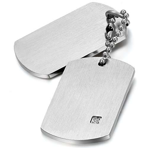 JewelryWe Colgante Collar Personalizado Dog Tag Militar Doble, Hombre Mujer Personalizadas Placas Estilo Ejército para Grabar, Acero Inoxidable Plateado Pulido, Regalo Dia de la Padre (E--plateado SIN grabado)