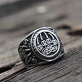 RNXRBB Anillos Garra Pata Oso con símbolo Vikingo para Hombre eslavo guardián Veles talismán Anillo Acero Inoxidable Amuleto joyería-8