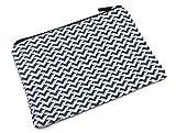 Oh My Shop atm14–Astuccio a trucco borsa portaoggetti tessuto stampato chevrons Righe Blu Navy