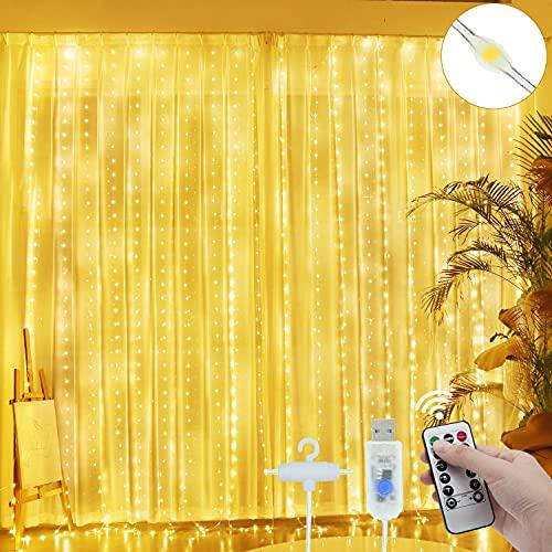 Rideau Lumineux - 300 LED 3M*3M Guirlande Lumineuse Rideau 8 Modes Etanche USB & Télécommande Rideau de Lumiere Interieur Exterieur Decoration pour Chambre Noël Mariage Fenêtre