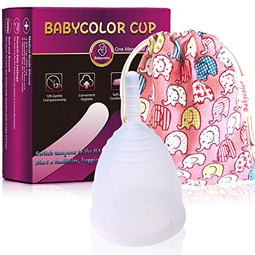 Menstrual Cup, Menstrual Cup Set with FDA Registered Reusable Eco-Friendly Alternative to Tampons Includes Period Cup Cleaning Holder Free Cleaning Tablets (S)