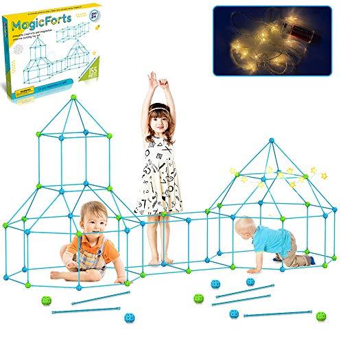 TAOBOU Kit de construcción para niños, 155 piezas, kit de construcción para niños, juguetes para niños y niñas de 3 a 8 años de edificación, castillos túneles, tienda de campaña, cohetes, torre interior y exterior (con luz LED Starlight)