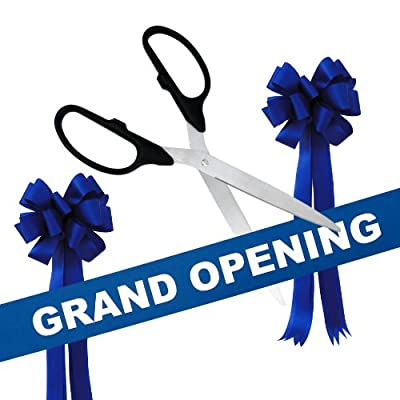"""Grand Opening Kit - 36"""" Silver Ceremonial Ribbon Cutting Scissors with 5 Yards of 6"""" Grand Opening Ribbon and 2 Bows"""