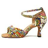 HROYL Zapatos de Baile para Mujeres y Niñas Latino Señoras Salsa Latina Tango Zapatos de Boda de satén L255-6 Amarillo 36.5 EU